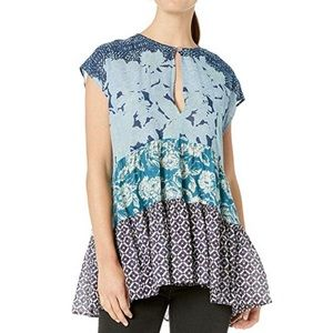 Free People Gotta Have You Blue Cotton Tunic